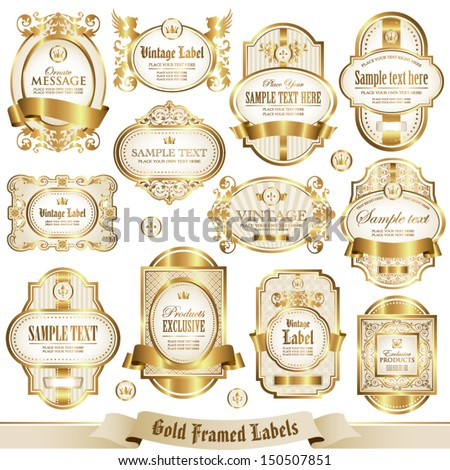 Gold framed labels set 2 - stock vector