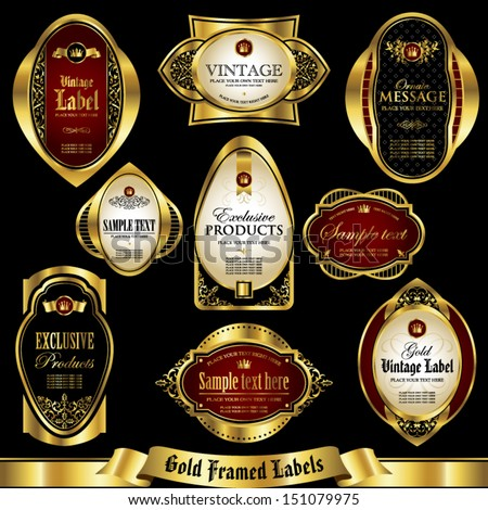 Gold framed labels set 3 - stock vector