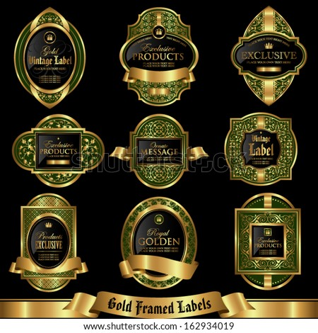 Gold framed labels set 5 - stock vector