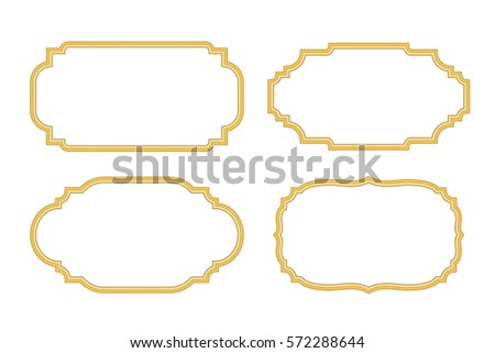 Gold Frames Beautiful Simple Golden Design Vintage Style Decorative Border Isolated On White