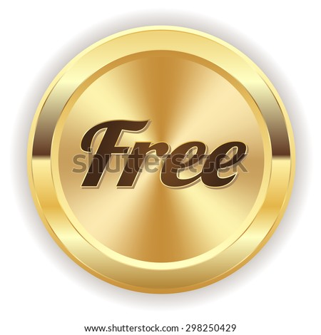 Gold free button on white background - stock vector