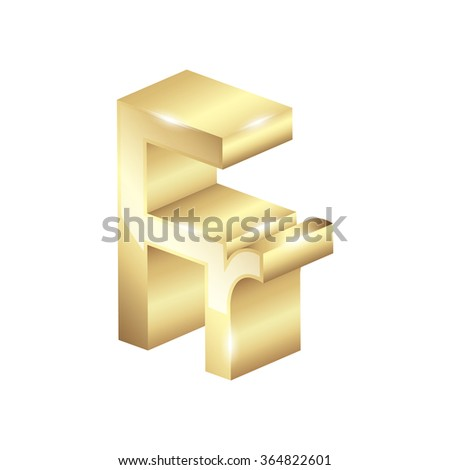 Gold French Franc Currency Symbol Stock Vector 364822601 Shutterstock