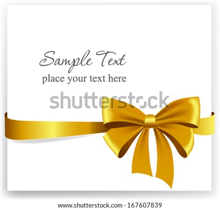 Gold gift bow with ribbons. Vector illustration.  - stock vector