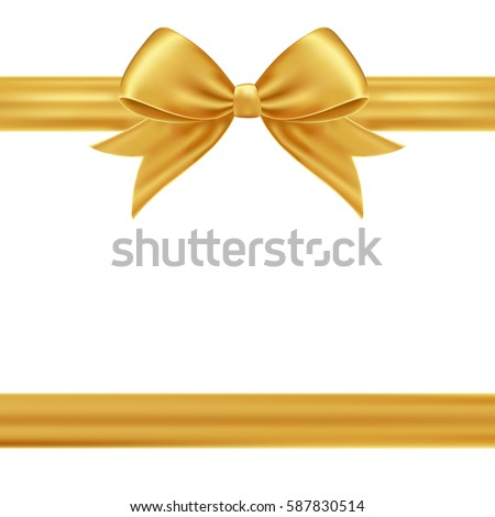 Gold gift ribbon bow stock vector 587830514 shutterstock gold gift ribbon and bow negle Images