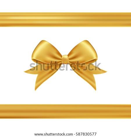 Gold gift ribbon bow stock photo photo vector illustration gold gift ribbon and bow negle Choice Image