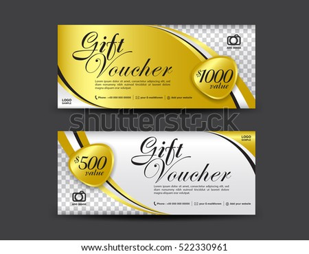 Gift voucher template gold pattern certificate gold gift voucher template coupon design certificate ticket template discount layout yelopaper Choice Image