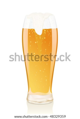 Gold glass of beer with vials and falling foam. Serie of images. You can find many various types of realistic vector illustrations of wine bottles in my portfolio. - stock vector