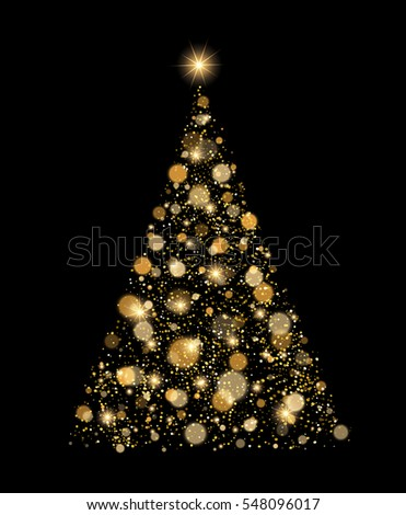 Gold Glitter Christmas Tree Vector Card With Glow Effect