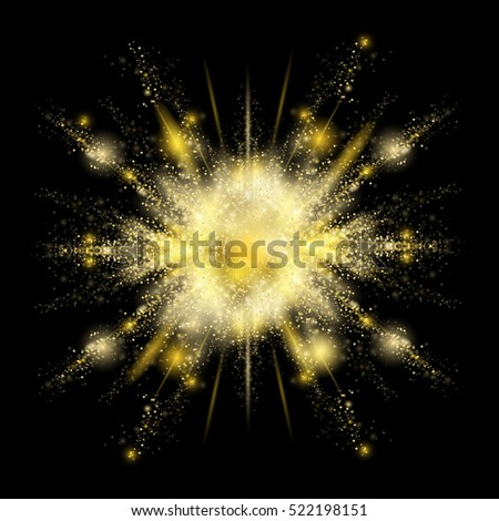Gold glitter explosion,vector illustration.Golden color splash.Particles burst with golden texture for fashion background,luxury wallpaper.Magic mist glowing.Powdered vivid gold on black background
