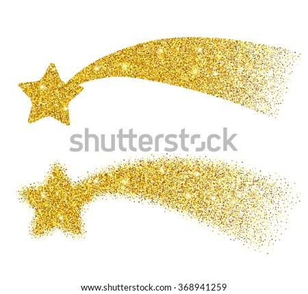 Gold glitter falling stars. Golden sparkle stars on white background. Shooting stars. Star dust. Vector elements for holidays design. - stock vector