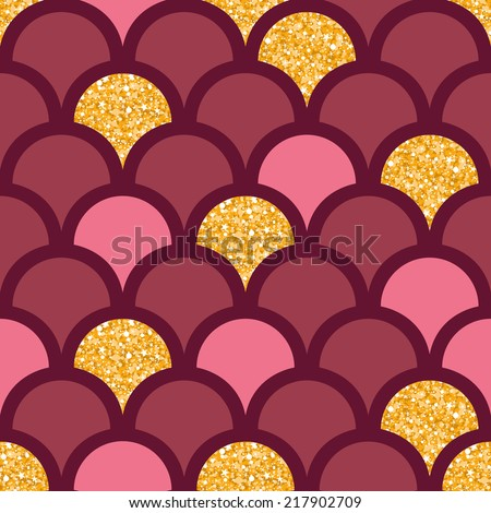 Gold glitter fish scale seamless pattern background - stock vector