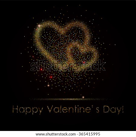 Gold glitter heart card. Valentine card concept. Vector illustration - stock vector