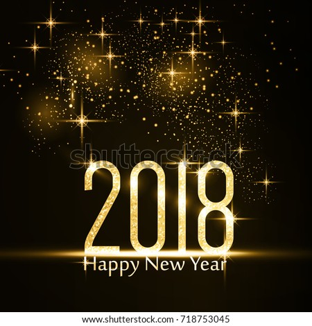 Gold glitter 2018 on dark background with light effects with the text Happy New Year.