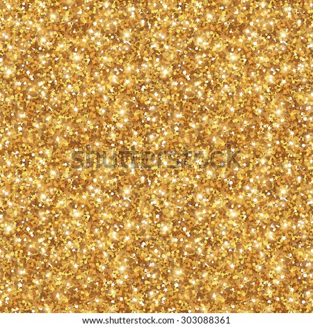Gold Glitter Texture, Seamless Sequins Pattern. Vector Illustration. Lights and Sparkles. Glowing New Year or Christmas Backdrop. Golden Dust.  - stock vector