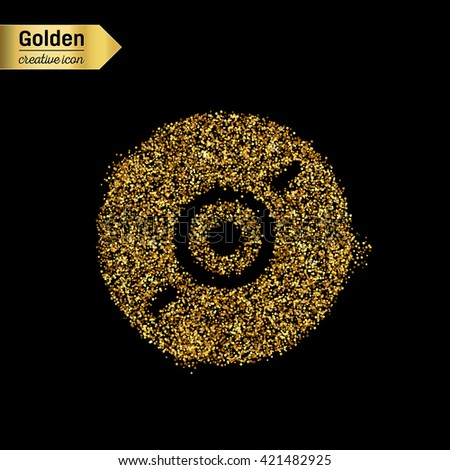 Gold glitter vector icon of CD disk isolated on background. Art creative concept illustration for web, glow light confetti, bright sequins, sparkle tinsel, abstract bling, shimmer dust, foil. - stock vector