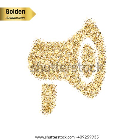 Gold glitter vector icon of megaphone isolated on background. - stock vector