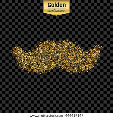 Gold glitter vector icon of mustache isolated on background. Art creative concept illustration for web, glow light confetti, bright sequins, sparkle tinsel, abstract bling, shimmer dust, foil. - stock vector