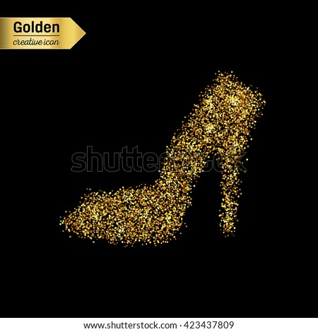Gold glitter vector icon of right shoe isolated on background. - stock vector