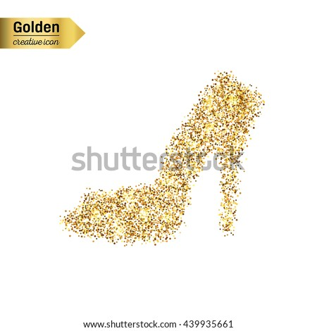 Gold glitter vector icon of right shoe isolated on background. Art creative concept illustration for web, glow light confetti, bright sequins, sparkle tinsel, abstract bling, shimmer dust, foil. - stock vector