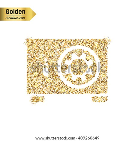 Gold glitter vector icon of safe box isolated on background.