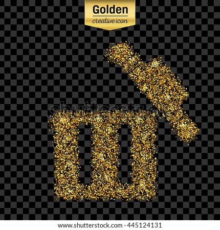 Gold glitter vector icon of trash box isolated on background. Art creative concept illustration for web, glow light confetti, bright sequins, sparkle tinsel, abstract bling, shimmer dust, foil. - stock vector