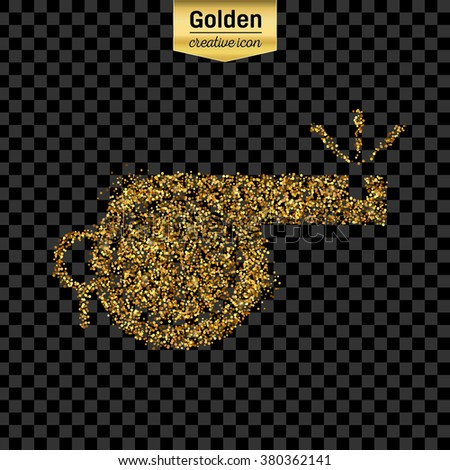 Gold glitter vector icon of whistle isolated on background. Art creative concept illustration for web, glow light confetti, bright sequins, sparkle tinsel, abstract bling, shimmer dust, foil. - stock vector