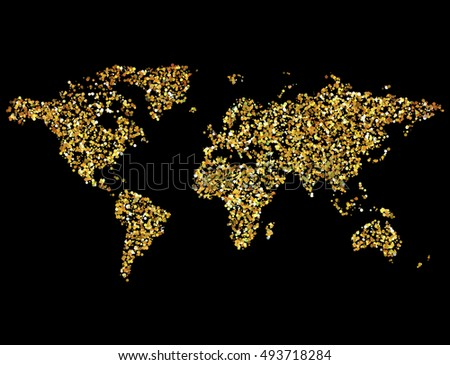 Gold glitter world map geographical map stock vector hd royalty gold glitter world map geographical map of earth made of glittering dots gumiabroncs Gallery