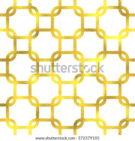 Gold glittering foil geometric seamless pattern background - stock vector