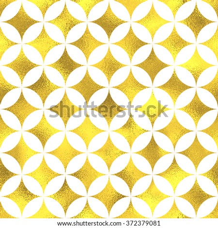 Gold glittering foil geometric seamless pattern background with circles