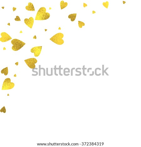 Gold glittering foil hearts on white background, vector isolated design elements - stock vector