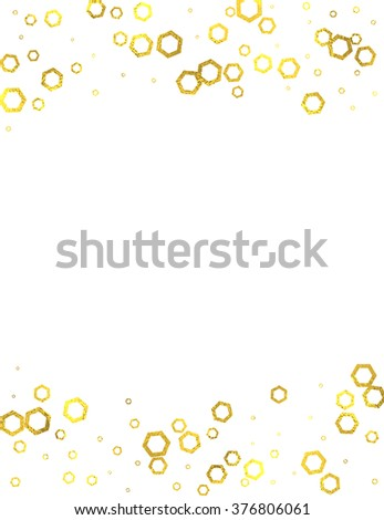 Gold glittering foil hexagons vertical frame on white background, vector isolated design elements - stock vector