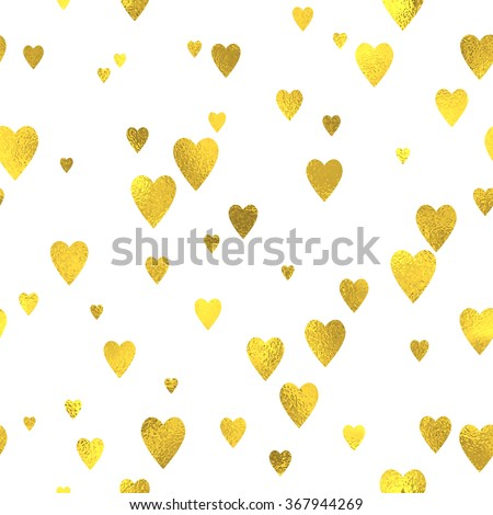 Gold glittering foil seamless pattern background with hearts - stock vector