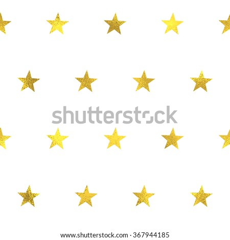 Gold glittering foil seamless pattern background with stars - stock vector