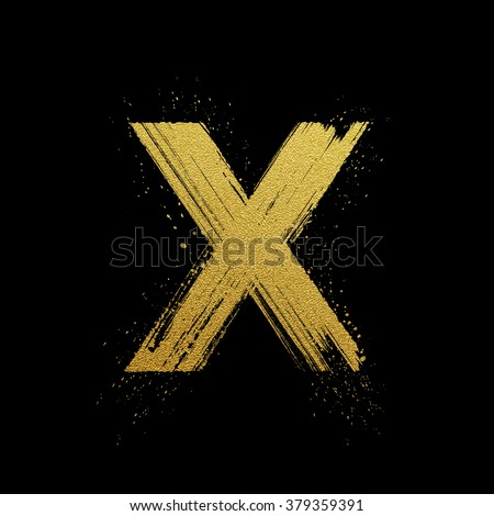 Gold glittering letter X in brush hand painted style - stock vector