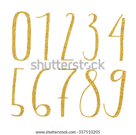 Gold glittering metal alphabet numbers digital style hand-drawn doodle sketch. Vector illustration. - stock vector