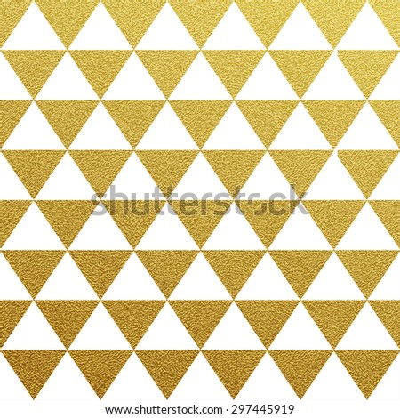 Gold glittering seamless pattern of triangles on white background. - stock vector