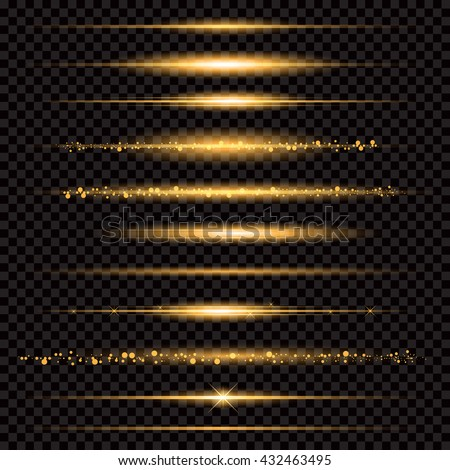 Gold glittering star dust trail sparkling particles on transparent background. Space comet tail. Vector glamour fashion illustration. - stock vector