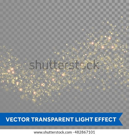 Gold glittering star dust trail sparkling particles on transparent background. Space comet tail. Vector glamour fashion illustration