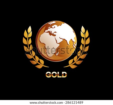 Gold globe illustration. Golden globe with laurel icon.  - stock vector