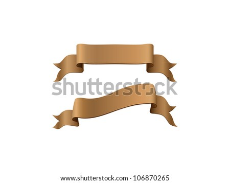 Gold glossy ribbons on a white background - stock vector