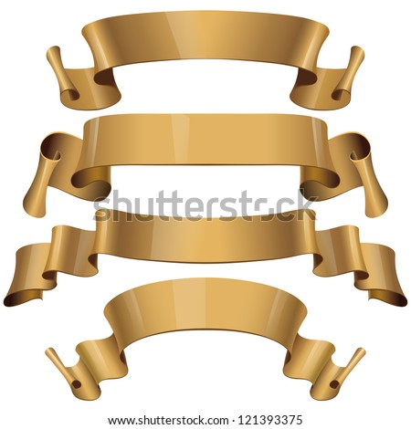 Gold Glossy vector ribbons on a white background for your design project. Vector illustration - stock vector