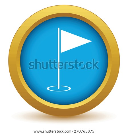 Gold golf flag icon on a white background. Vector illustration - stock vector