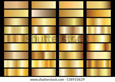 Gold gradient background vector icon texture metallic illustration for frame, ribbon, banner, coin and label. Realistic abstract golden design seamless pattern. Elegant light and shine vector template