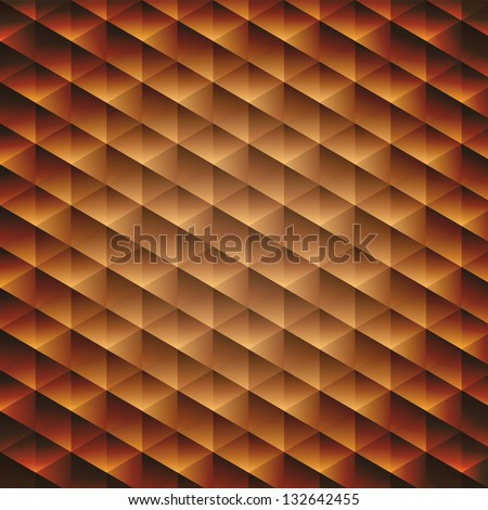 Gold gradient geometric cubic background, vector illustration - stock vector