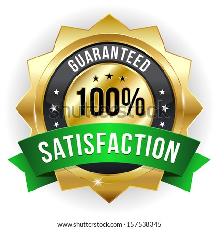 Gold green hundred percent satisfaction badge - stock vector