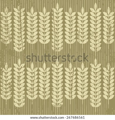 gold grunge wheat seamless pattern on light brown - stock vector