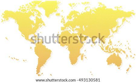 Gold halftone world map vector illustration stock vector 493130581 gold halftone world map vector illustration gumiabroncs Images
