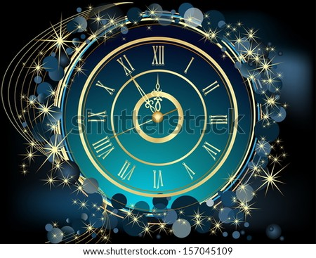 Gold Happy New Year  background  with clock - stock vector