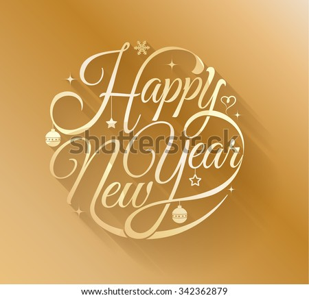 Gold Happy new year lettering. Vector illustration. Can use for Christmas and New Year greeting card. - stock vector