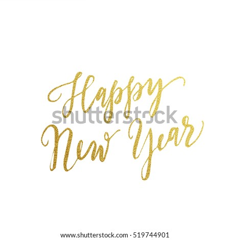 Gold Happy New Year text for greeting card. Vector holiday design on white background